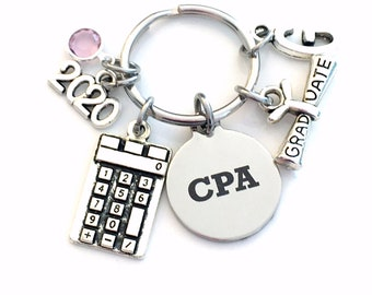 Graduation Gift for CPA Keychain, 2020 Accountant Key Chain, Chartered professional accountant Initial Birthstone Grad Present Keyring women