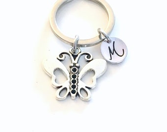 Butterfly Keyring, Butter fly Key chain, Insect Bug Keychain, Charm Monogram Letter, Butterflies gifts Initial purse charm planner teen girl