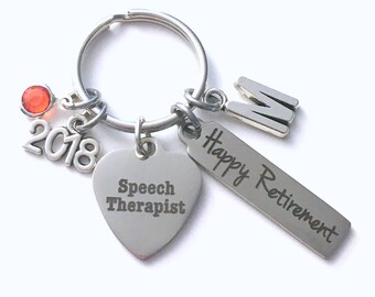 Retirement Gift for Speech Therapist Keychain, 2018 Language Pathologist Key Chain Therapy Keyring him her men women present Initial Letter