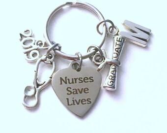 Nursing Keychain, Graduation Gift for Nurse Keychain, 2019 Nurses save lives Keyring Key Chain, Present her women Men Stethoscope charm him