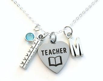 Kindergarten Teacher Gift for Daycare Necklace, Ruler Jewelry, Teach book Birthday Christmas Present silver her women Long Short Chain Ea