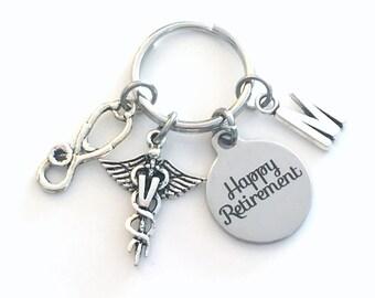 Veterinarian Keychain Retirement Gift Caduceus Medical for Animal Doctor Key chain Keyring Coworker Initial letter V Vet him her stethoscope