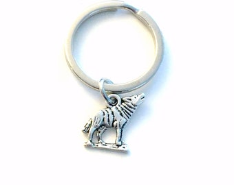 Wolf Key Chain / Silver Wolves Keyring / Coyote Keychain / Dog Animal Gift / birthday present / letter initial / Purse charm planner charm