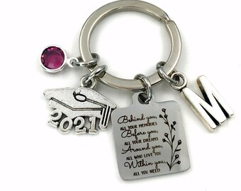 2021 Graduation Gift for Her Keychain / Behind you, all your memories before you, all your dreams, around you, all who love you. Within you