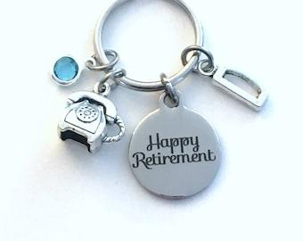 Retirement Gift for Telephone Dispatcher Keychain, Phone Operator Key Chain, 911 Company present for secretary Retire Keyring Initial letter