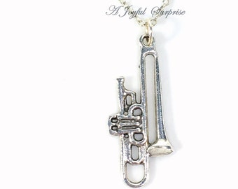 Trombone Necklace, Band Instrument Gift for Player Charm Silver Brass Jazz Jewelry, Pewter Pendant School Band Geek Music Musician present