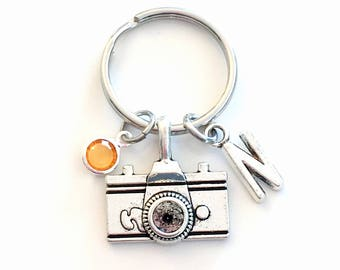 Gift for Photographer Keychain, Camera Key Chain, Photography Student Keyring Graduation initial letter birthstone women men photo him her