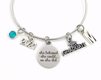 Graduation Bracelet Gift 2021 / She believed she could so she did University Grad Jewelry / College Graduate Student Present / Silver Bangle