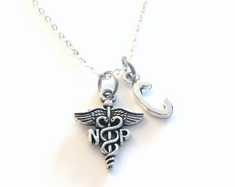 NP Necklace, Gift for Nurse Practitioner Nursing Jewelry, Silver Caduceus Charm Personalized for birthday present for men women her coworker