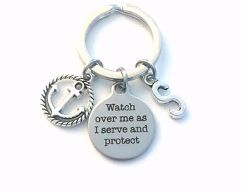 Navy Officer Gift for Him or Her, Naval Anchor Keychain, Nautical Key Chain Watch over me as I serve and protect Aircrewman Keyring Initial