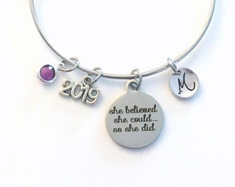 High School Graduation Gift for Achievement, 2019 She believed she could so she did, Job promotion Customized Jewelry, Bracelet Silver 2020