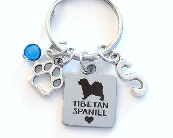 Tibetan Spaniel KeyChain, Tibbie Breeder Key Chain, Gift for Dog Mom Keyring Doggie Puppy Jewelry charm Initial Birthstone present women Paw