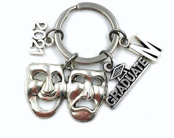 Graduation Gift for Drama student / 2021 Musical Theater Keychain / Mask Key Chain / Actress keyring / Actor Grad Preforming arts College