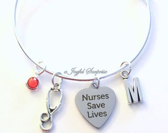 Nurse Charm Bracelet, Gift for CRNA GNP CNS Jewelry, silver Bangle initial Letter, Nurses Save Lives, Stethoscope Present Pewter Pendant