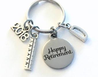Retirement Gift for Teacher Keychain,  2018 Architecture Dad Draft Ruler Secretary Key chain Keyring Retire Coworker Initial letter Math him