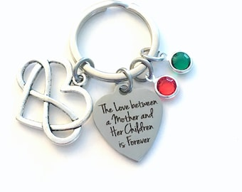 Gift from Kids Keychain, Multiple letter birthstone 2 3 4 5, The Love between a Mother and her Children is forever Key Chain infinity day