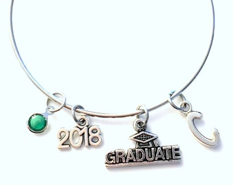 Class of 2018 Graduation Gift Charm Bracelet High School Student University Grad Silver Bangle Jewelry College for initial 2015 2016 or 2017