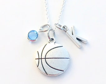 Basketball Necklace, Basket Ball Jewelry Gift High School Jr. Present Charm Personalized Initial Birthstone birthday gift Christmas present