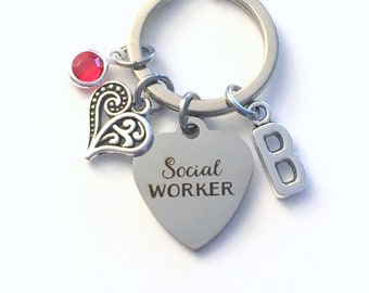 Social Worker Gift Keychain / Thank you Present Key Chain / MSW Keyring / Graduation or Retirement Gift for Social Worker / for her woman