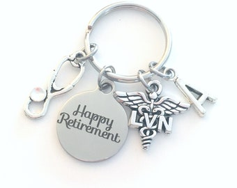 LVN Keychain Retirement Key Chain, Licensed Vocational Nurse Caduceus, Nursing Keyring, Initial letter her him women birthstone stethoscope