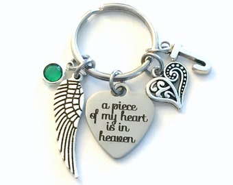 Memorial Keychain, A piece of my heart is in Heaven Key Chain, Loss of Son Mom Dad Brother Sister Daughter Husband Wife Sympathy Gift wing