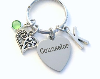 Counselor Keychain, Counsellor Key Chain, Initial Birthstone Birthday Thank you present men women Gift for therapist graduation retirement