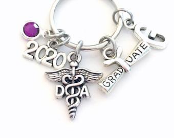 Graduation Gift for Dental Assistant Keychain, 2020 Dentist Hygienist Key chain DA Keyring birthstone Initial letter for her women DH Scroll