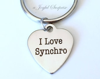 Syncro Keychain I Love Synchro Key Chain Gift for Synchronized Swimmer Gift Synchro Swimming Keyring swimming Luggage Tag Purse charm zipper