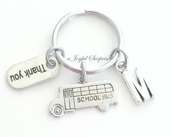 Gift for Bus Drivers Present, School Bus Keychain, Travel Keyring Thank you Key chain, Driver Appreciation Custom letter her him women men