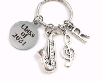 Music Graduation Present / Class of 2021 Musician Grad Keychain / Gift for Band Student Key Chain / Graduate Keyring Saxophone piano sax