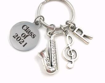 Music Graduation Present / Class of 2021 Musician Grad Keychain / Gift for Band Student Key Chain / Graduate Keyring Saxophone piano sax