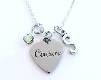 Cousin Necklace, Best Friend Jewelry, Gift for Bridal Party Present Birthstone initial letter her Teenage girl silver Canadian Seller Shop