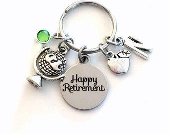 Teacher Retirement Gift Keychain, Social Studies History Professor Key chain, Apple Globe Keyring Retire, World Religions International her