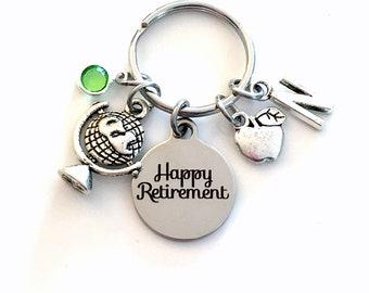 Teacher Retirement Gift Keychain, Social Studies History Professor Key chain, Apple Globe Keyring Retire, World Religions International her