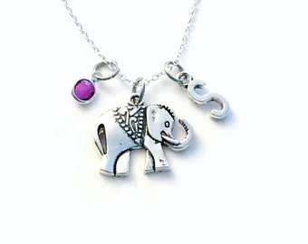 Elephant Necklace, Animal Jewelry, Carved Silver Gift for Teenage Daughter Jewelry pearl charm Personalized initial birthstone her girl
