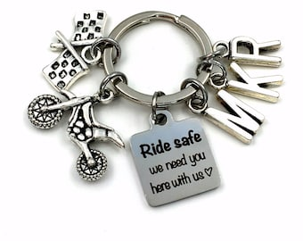 Dirtbike KeyChain, Dirt Bike Key Chain, Ride safe we need you here with us Gift for Daddy Keyring, Father's Day Present Multiple 2 3 4 5 6 7
