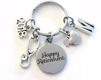 Retirement Gift for School Nurse Keychain, 2018 Nursing Educator Teach Stethoscope Apple Key chain Keyring Retire Initial letter dietitian