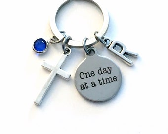 One Day at a Time Key Chain, AA Cross Gift for Sponsor Keychain, NA Serenity Prayer Keyring, Present Recovering Addict Alcoholics Anonymous