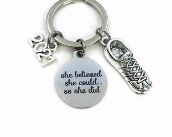 Running Key Chain, 2021 Track Keychain, Gift for Marathon Run Keyring Jewelry Cross Country Runner Sneaker long distance She believed