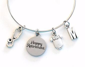 Retirement Gift for Neonatal Jewelry / NICU Nurse Charm Bracelet / 2021 Silver Bangle / Pediatric Public Health Nursing Present her