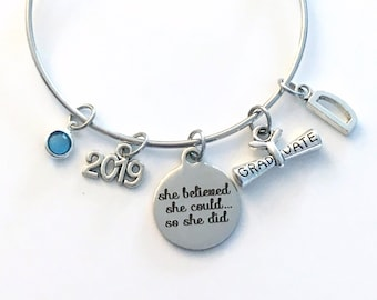 Graduation Gift for Her, Charm Bracelet High School College Grad 2019 Silver Bangle Jewelry She believed she could so she did 2020 2018 her