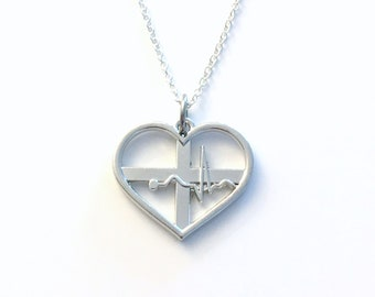 Heart Beat Necklace, Silver EKG Jewelry, ECG necklace, medical gifts, Gift for nurse gift, silver heartbeat men women her Electrocardiograph