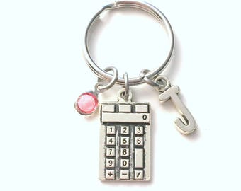 Gift for Math Student Keychain, Calculator Key Chain, University Grad Keyring, College Initial Birthstone Graduation present women her him