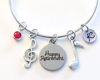 Retirement Gift for Music Teacher, Band Instructor Charm Bracelet, Musician Jewelry School Conductor, Silver Bangle initial women letter her