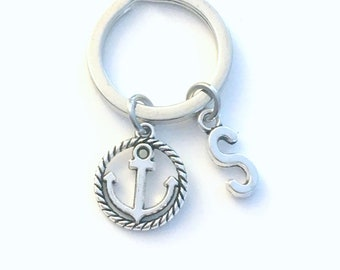Anchor Keychain, Nautical Keyring, Gift for Marine, Sailor's Key chain, SailBoat Keyring, Silver Initial Letter Boat Keys, Father's Day him