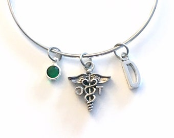 Occupational Therapist Bracelet, OT Jewelry Therapy, Charm Bangle, Silver Medical Caduceus, Gift for women birthstone her letter initial