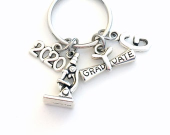 Graduation Gift for him, 2020 Keychain, Lab Technician, Tech Science Degree BSC Key Chain Researcher Biologist Grad Initial letter Men