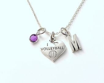 I Love Volleyball Necklace, Gift for Teenage Girl Jewelry, Teen Sport Player present, Silver Charm Pendant boy Teenager Daughter Son Chain