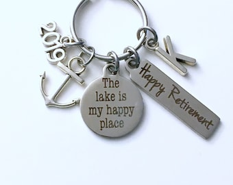 The lake is my happy place Keychain, 2019 Retirement Gift for Father Key Chain, Marine Keyring, him her women Men Coworker Co Worker Anchor