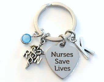 Nurses Save Lives Keychain, Personalized Nurse Keyring, RN Key Chain, Gift for Nursing Student Medical RN Emblem Caduceus initial birthstone